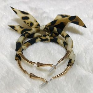 Adorable Leopard Print Bow Wrapped Hoop Earrings
